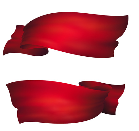 wavy red banners , vector set 向量圖像