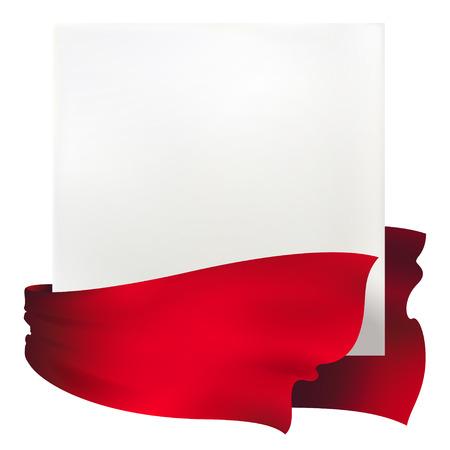 赤いリボンのバナーを振ってください。  イラスト・ベクター素材