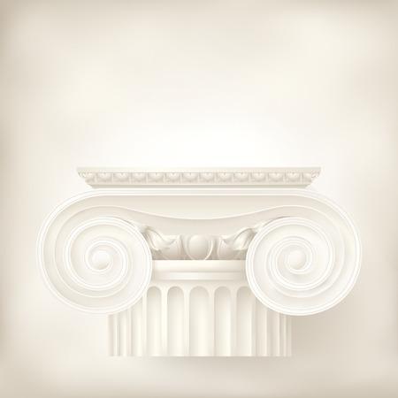bouwkundige achtergrond, Ionische kolom Stock Illustratie
