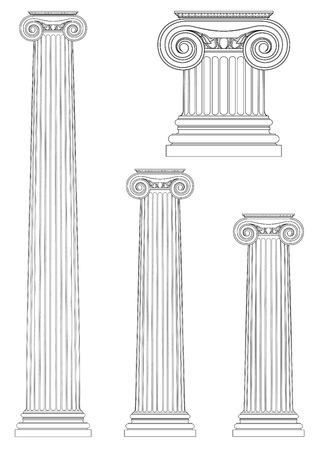 antigua grecia: conjunto de la columna iónica, dibujo vectorial