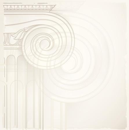 bouwkundige achtergrond, ionische zuil, vector tekening