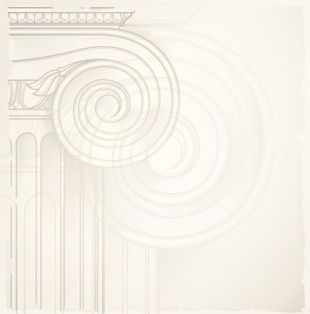 arquitectura: fondo arquitectónico, la columna iónica, dibujo vectorial Vectores