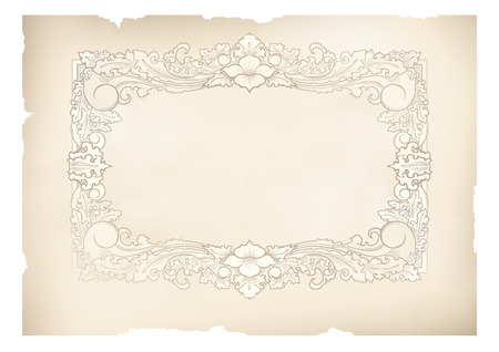 vintage frame old paper,vector drawing  Ilustracja