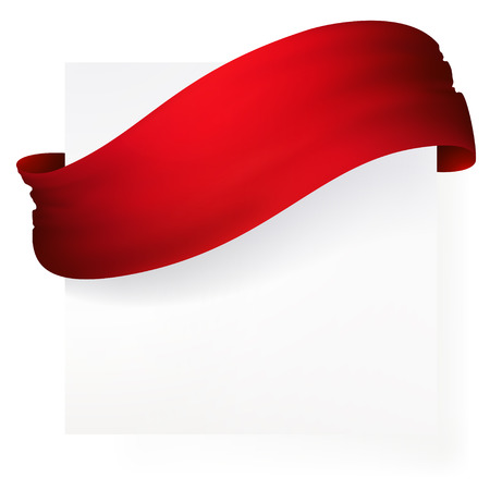 red ribbon banner , vector drawing