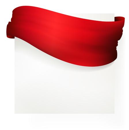 Nastro rosso bandiera, disegno vettoriale Archivio Fotografico - 29423960