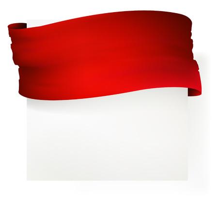 Nastro rosso bandiera, disegno vettoriale Archivio Fotografico - 29423961
