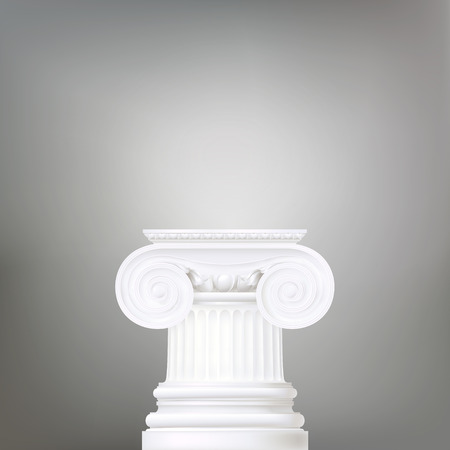 hellenistic: architectural background , ionic column , vector drawing