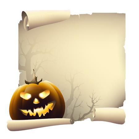 parchment scroll: halloween banner Illustration