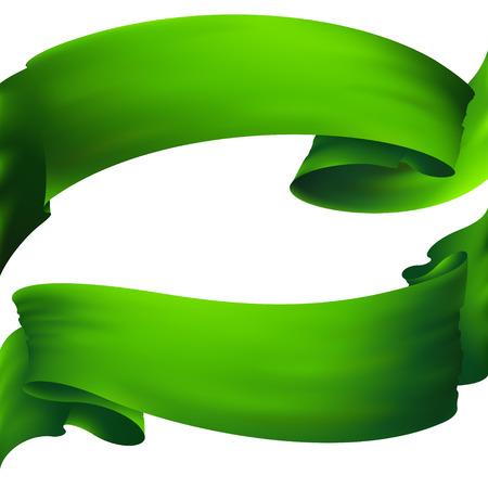 short wave: green ribbon banner Illustration