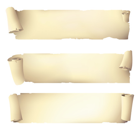ancient papyrus: old scroll paper banners , vector drawing