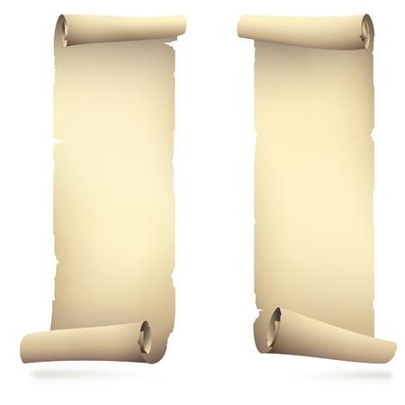 古い紙のバナーをスクロール、図面をベクトル