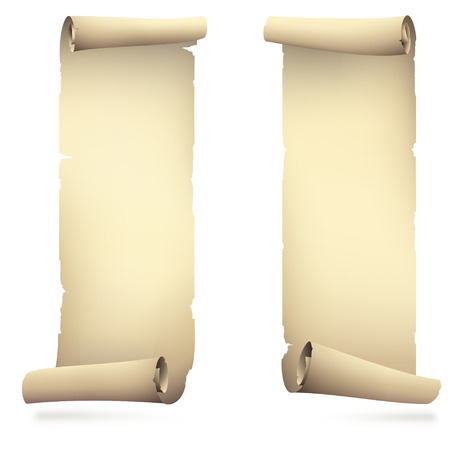 torah scroll: old scroll paper banners , vector drawing