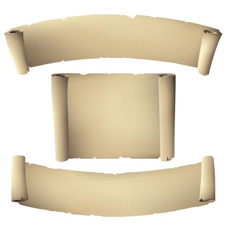Vieux papiers roulé bannière Banque d'images - 34033029