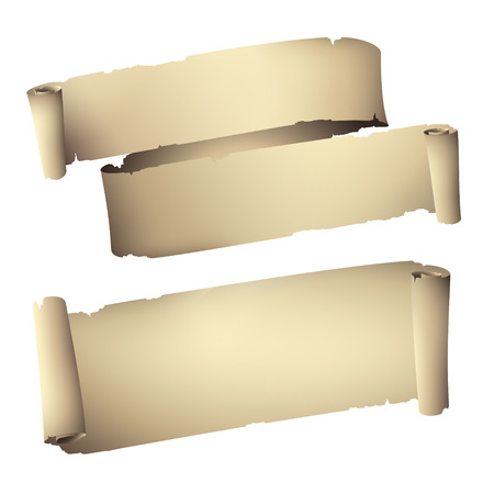 バナーを巻いた古い紙