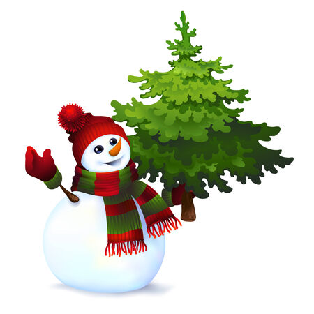 Snowman with pine tree,vector drawing Illustration