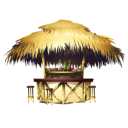 thatched roof: Tropical bungalow bar Illustration