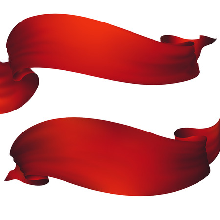 Red ribbon banner ,vector set Çizim