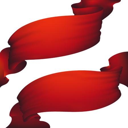 Red ribbon banner ,vector set Illustration