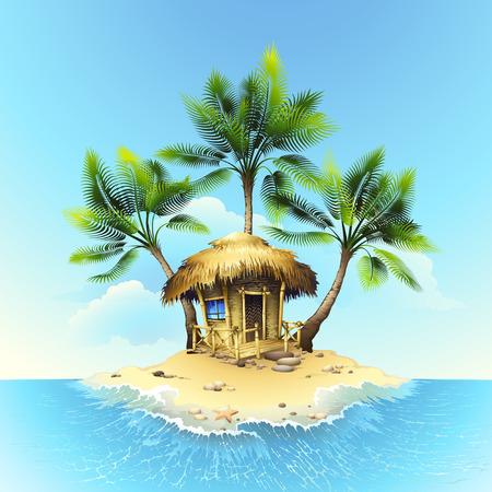 熱帯バンガロー  イラスト・ベクター素材