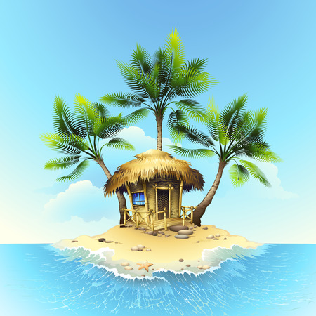 beach illustration: Tropical bungalow