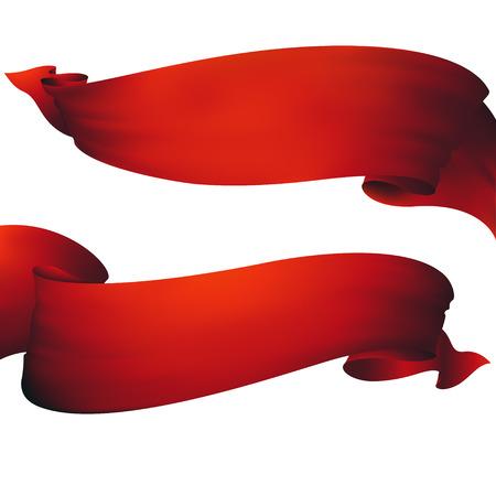 Red ribbon banner ,vector set  イラスト・ベクター素材