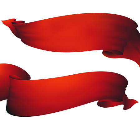 Red ribbon banner ,vector set Illustration