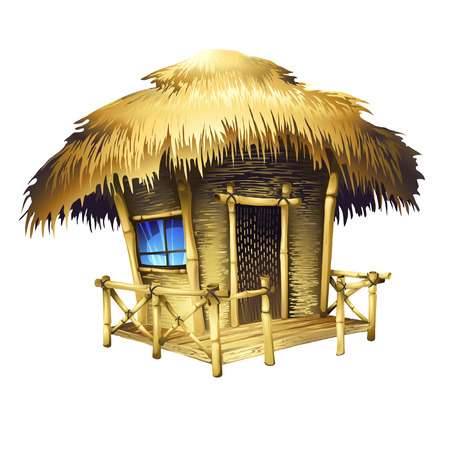 thatched roof: Tropical bungalow, isolated vector drawing