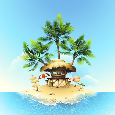 hut: Tropical bungalow bar Illustration