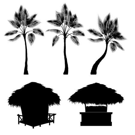 Tropische bungalow en palm, geïsoleerde vector tekening