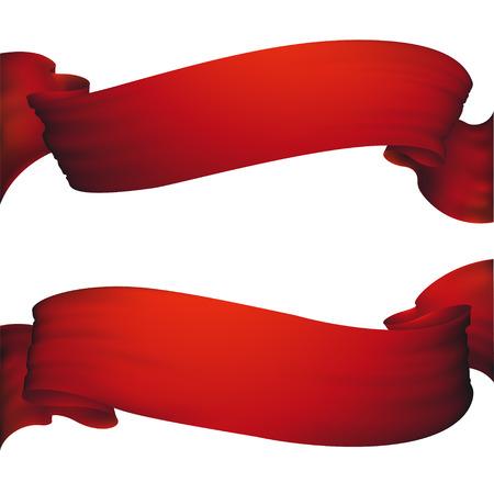 Red ribbon banner ,vector set Stock Illustratie