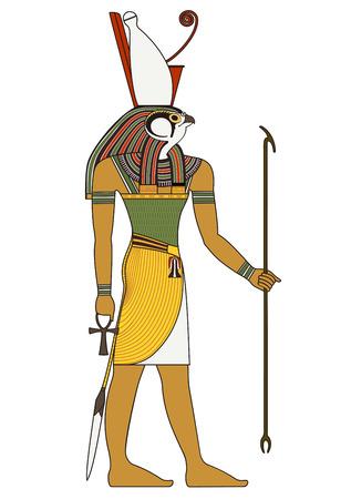 Gyptische alte Symbol, isoliert Abbildung des alten Ägypten Gottheiten Standard-Bild - 37673683