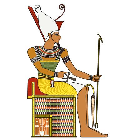 Farao, geïsoleerde figuur van het oude Egypte farao Stock Illustratie
