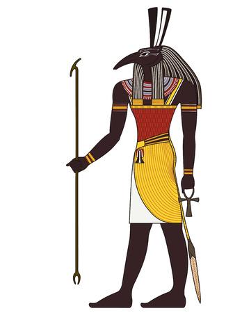 Seth, Geïsoleerde cijfer van het oude Egypte god Stock Illustratie