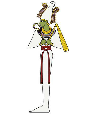 Osiris , Isolated figure of ancient egypt god Çizim
