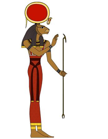 セクメト、古代エジプト神の孤立した人物  イラスト・ベクター素材