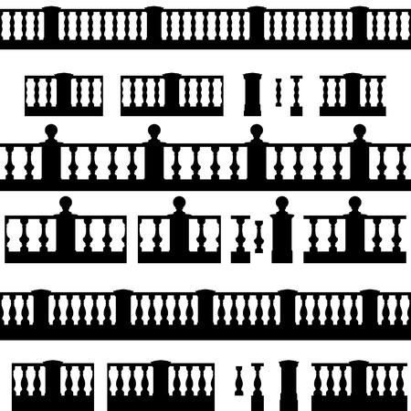 Elementos al aire libre y parque: barandilla decorativa conjunto jarrón de dibujo elementsvector paisaje Foto de archivo - 40951570