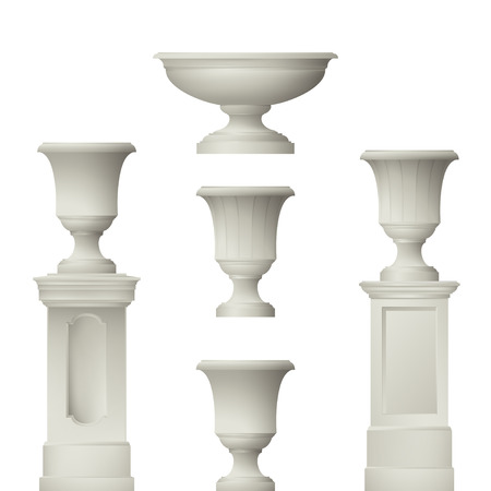 balustrade: Outdoor and park elements : balustrade  decorative vase set of landscape elementsvector drawing