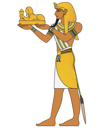 고대 이집트 신들의 파라오 이집트 고대의 상징 고립 된 그림
