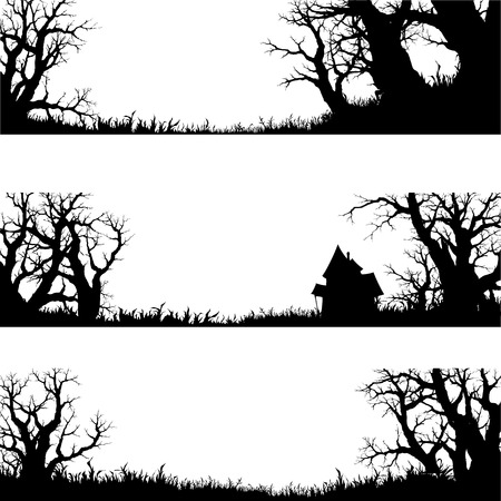 halloween banner and elements  silhouette vector set Vector