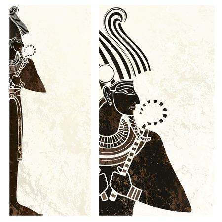 古代エジプトのシンボルとテンプレート バナー