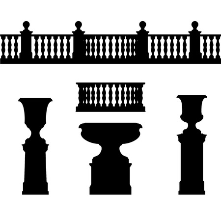 Outdoor and park elements : balustrade  decorative vase set of landscape elementsvector drawing