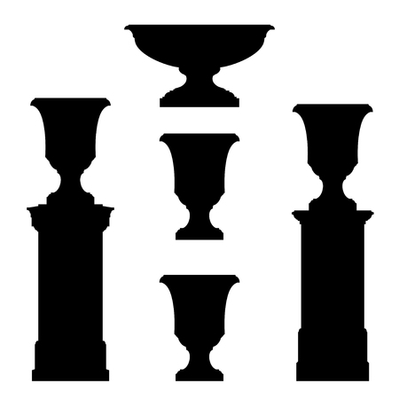 hellenistic: Outdoor and park elements : balustrade  decorative vase set of landscape elementsvector drawing