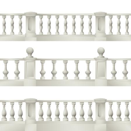 Outdoor and park elements : balustrade  decorative vase set of landscape elementsvector drawing