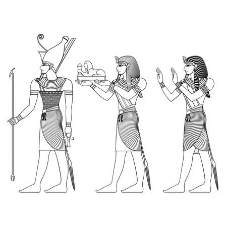 エジプトの古代のシンボル、古代エジプトの神々 の隔離された図  イラスト・ベクター素材
