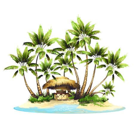 Tropical bungalow bar on island in ocean