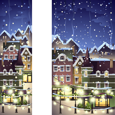 snow house: winter town decorated with christmas light, vector banner