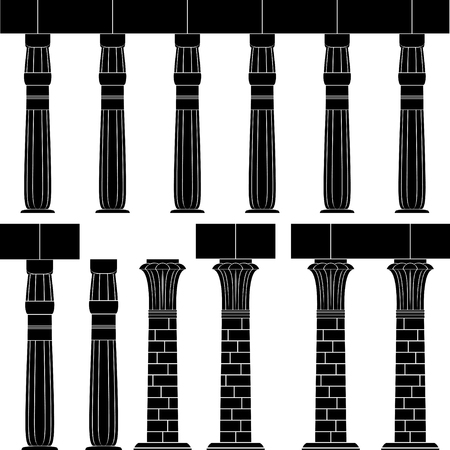 ancient egypt column, silhouette of egyptian column Ilustracja