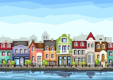 colorido: calle pequeña ciudad con shop.illustration café de la ciudad llena de color estilizada landscape.Old ciudad.