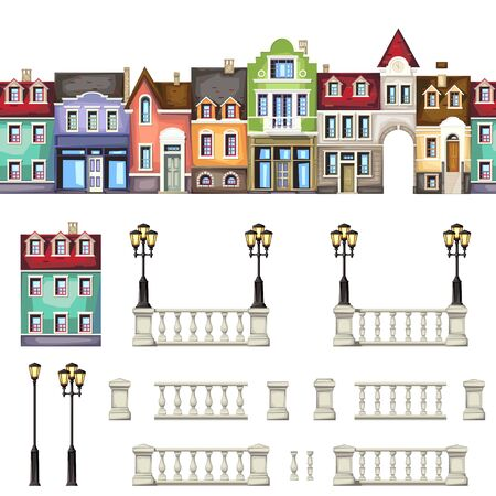 building silhouette: collection of architectural elements . house , street light ,balustrade. Illustration