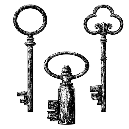 etching: old style key collection . etching drawing Illustration